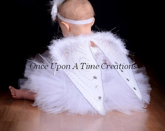 Ready To Ship - Perfect Angel Tutu Dress & Wings - Halloween Costume - Baby Girl Newborn 3 6 9 12 18 24 Months 2T 3T 4T 5 6 7 8