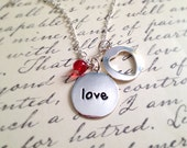Love Necklace. Word Jewelry. Message Jewelry. Gifts for Her Under 15. Red. Valentine's Day. Love. Couple. Romantic Gifts. Silver Chain. Disc