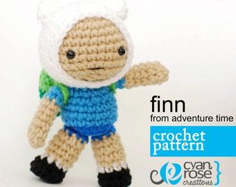Finn Crochet Pattern - Instant Download - Finn, from Adventure Time - amigurumi plush doll CROCHET PATTERN ONLY
