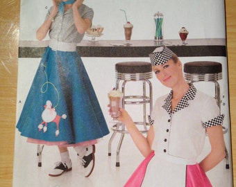 Simplicity Pattern 3847 Misses 1950s Sock Hop Waitress and Poodle Skirt Costume