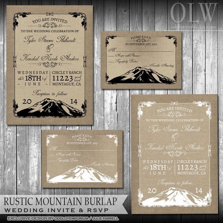 rustic mountain chalkboard wedding invitation suite scenic, invitation samples
