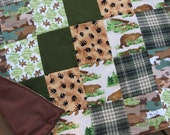 """The Great Outdoors Flannel Lap-Sized Green and Brown Quillow Blanket - 42"""" x 70"""" - The quilt that folds into a pillow"""