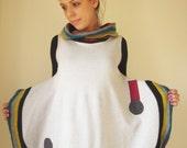 cream white geometrical voluminous dress colorfoul knit stripes