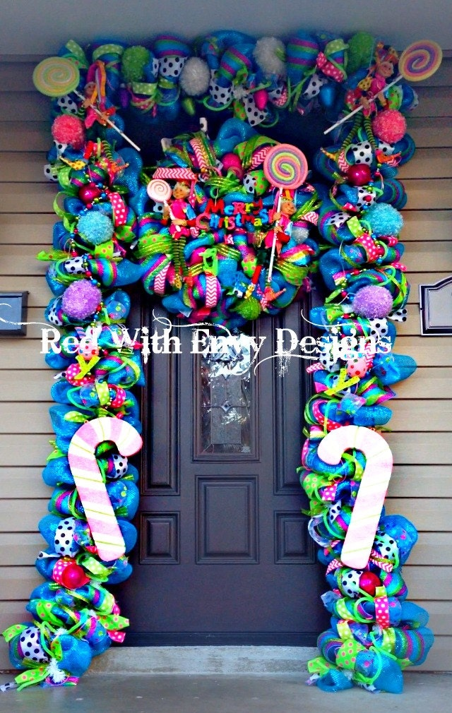 sale whimsical christmas wreath and garland. Black Bedroom Furniture Sets. Home Design Ideas