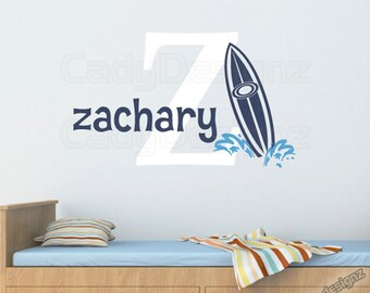 Initial and Name Beach Wall Decal - Surfboard Decals - Hawaiian Surf Beach Nursery Decor Vinyl Wall Decals - 18in