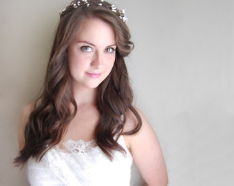 Bridal Floral Crown, Bridal Hair Acessories, Rustic Boho Headpiece