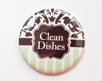 Clean Dishes, Dishwasher magnet, Damask, the dishes are clean, kitchen magnet, clean dishes magnet, Magnet, Brown, Mint Green (3678)