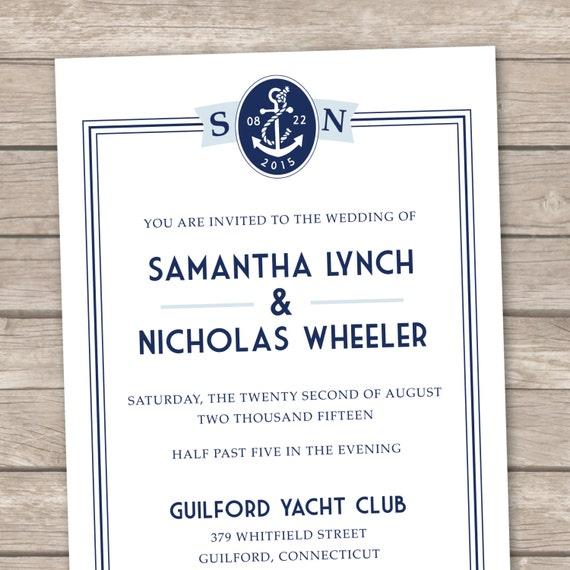 Nautical Chic Printable Wedding Invitation Set - DIY Wedding Invites - Navy, Blue, Beach, Destination