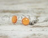 PUMPKIN SEEDS - Scrapbook Post Earrings - Orange and Yellow Polka Dot Stud Earrings by Blissful Bird Studio