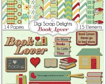 Book Lover Digital Scrapbook Kit Chipboard Clip Art, So Many Books, So Little Time Clip Art