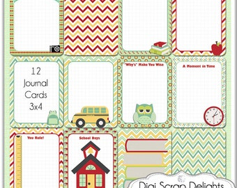 50% Off:  School Pocket Journal Cards, Project Life Inspired 3x4 Printable PDF & PNG, Digital Scrapbooking, Instant Download