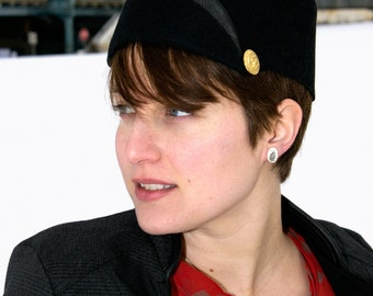 Chic Black Military Hat// vintage buttons, modern styling