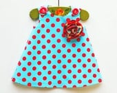 Turquois Red Polka Dots Dress - Handmade Rosette Flower - Blue - Summer Dress Pattern - Baby Toddler Girl Jumper Dress - 3M to 4T