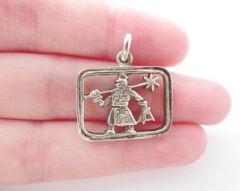 Vintage Silver Chimney Sweep Pendant / Charm