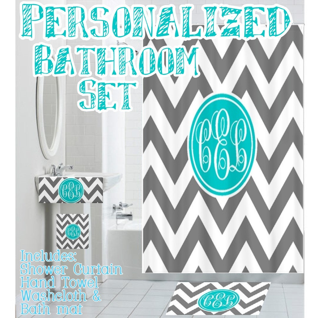 Custom Personalized Monogrammed Designer Bathroom Set