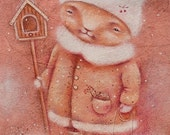 Cat Art, Wall Art, Cat Print, Ready for Birds, Bird House, Red Cat, Fine Art Print, Cute Cat, Nesting Box, Cat in Hat