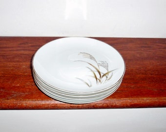 """4 HARMONY HOUSE GOLDEN Wheat 8"""" Salad Dessert Luncheon Plates Japan White China Gold Trim Set Very Nice Condition"""