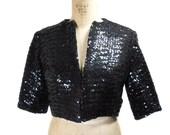 vintage 1950s sequin bolero jacket / Parade New York / black / glamour red carpet / shrug cropped / women's vintage jacket / size small