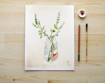 Kitchen Herbs Basil Branches in a Jar giclee print