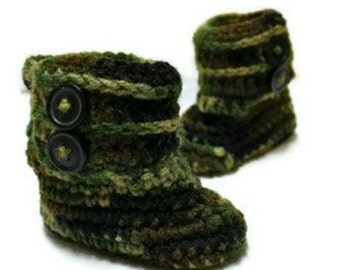 Camo Baby Booties, Made to Order