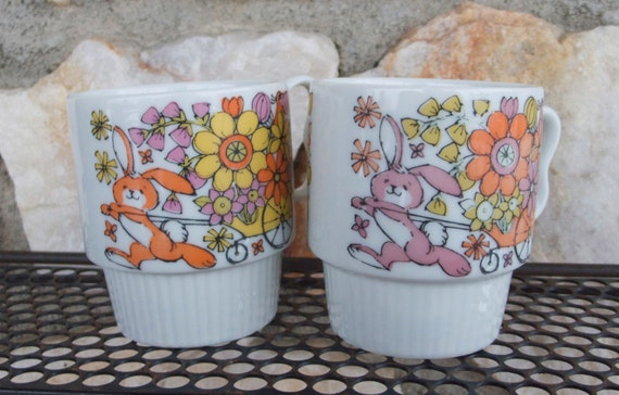 Vintage Trimont Ware Easter Bunny Rabbit Mugs Made in Japan