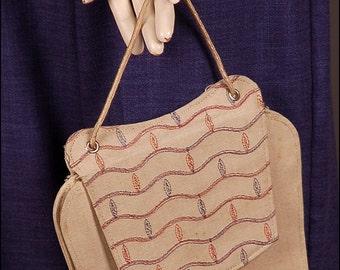 SALE! (was 19Euro) 30s 40s linen cotton PURSE hand bag original vintage summer 1930 1940