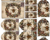 QUEEN BEE - Printable Download Digital Collage Sheet different size images Vintage Ephemera Paper Craft, Scrapbook Gift tags ACEO