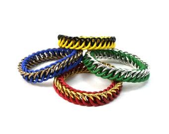 Harry Potter House Bracelet - Hogwarts Gryffindor Hufflepuff Ravenclaw Slytherin Chainmail Rubber Metal Stretch Friendship Bracelet