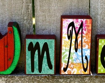 Summer Chunky Wood Block Set with Glitter Watermelon Accent, Scrapbook Paper and Vinyl Lettering, Summer Decor Watermelon Blocks