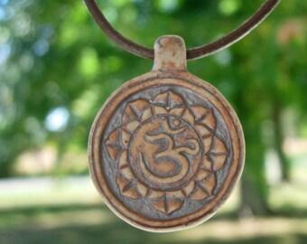 Statement Necklace Ohm Sanskrit Om Pendant Leather Choker BOHO Surfer Style Yoga Hindi Meditation Jewelry