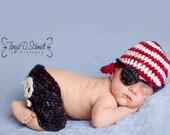 Pirate Newborn Photography Photo Prop Set Shorts Hat Eyepatch