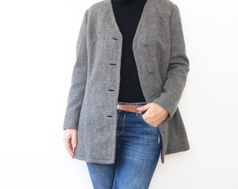 Vintage mouse grey wool classic women blazer jacket coat S M
