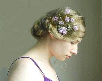 Lavender 'Isabeau' Clip - Bridal Flower Hair Accessory - Bride Bridesmaid Flowergirl - Woodland Wedding