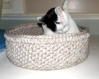Cat Bed, Crocheted Travel Pet Bed Round, 2 Cat Beds in one with Foldable Collar, Large Magazine Storage Basket in Light Beige