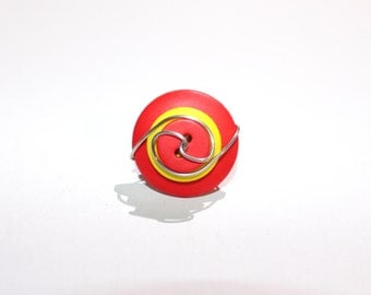 Cocktail button ring in red and yellow, silver tone wire wrapped, size 5, button jewelry