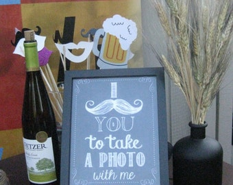 INSTANT DOWNLOAD -- Mustache/Chalkboard Printable Photo Booth Sign