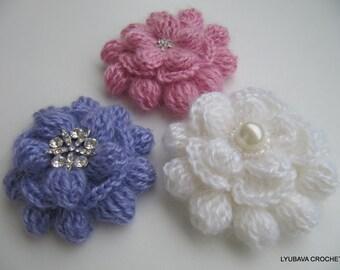 Crochet Flower Brooch PATTERN, Crochet Brooch, Mohair Flower Brooch, 3d Flowers DIY Gift For Her, Instant Download PDF Lyubava Pattern No.85