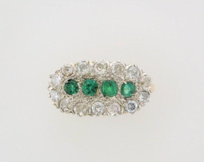 14 Karat Yellow Gold and Platinum Emerald and Diamond Ring