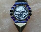Tribal Bindi hand made with all Swarovski crystals - bindi Native Americans style, lapis stone