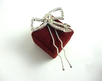 Rhinestone Hair Pin Bow Upcycled Vintage  Brooch Bride Wedding