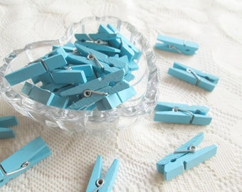 Wooden Clothespins Blue Handmade clothespin 50pcs, party, decoration, cute, wedding, party, wedding favor, party deco, wedding supply