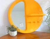 RESERVED for Chris mod plastic mirror / shelf / wall hooks / large retro wall hanging / modern yellow plastic