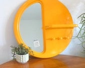 RESERVED for Chris mod plastic mirror / shelf / wall hooks / large retro wall hanging / modern yellow plastic