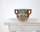 Small Pottery Vase / Blue and Browns Glaze / Made in Japan