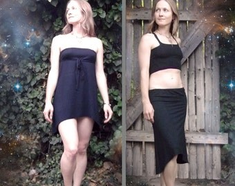 Delphini Dress: Bamboo & Elastane hi-low skirt, dress, convertible drawstring tunic. Little black dress. S, M, L.