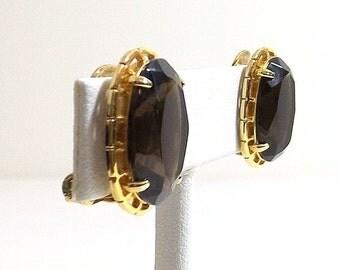 Smoky Quartz Crystal Clip On Earrings