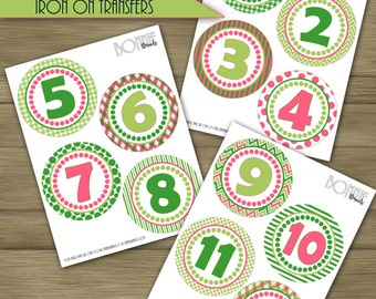 PRINTABLE DIY Monthly Baby Stickers or Iron On Transfers // Baby Milestone // Baby Girl // Pink, Lime, Green  // 12 unique patterns
