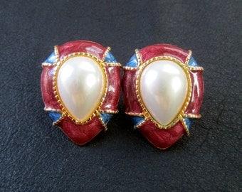 Red blue white earrings, vintage faux pearl colorblock pierced earrings