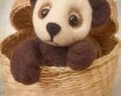 Panda Artist Teddy Bear Thread Jointed Miniature Needle Felted OOAK Collectors Item Handmade UK Merino Wool Glass Eyes