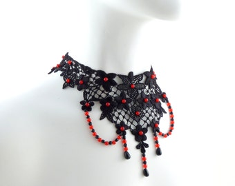 Black Lace Necklace with Red Beads Sewn All Over, Teardrop Dangles and Bead Rows - Wedding, Bridal, Gothic, Victorian, Renaissance, Choker